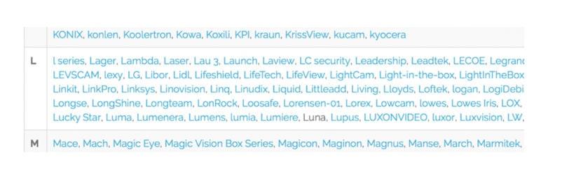Επιλέξτε τον κατασκευαστή της κάμερας από τη λίστα